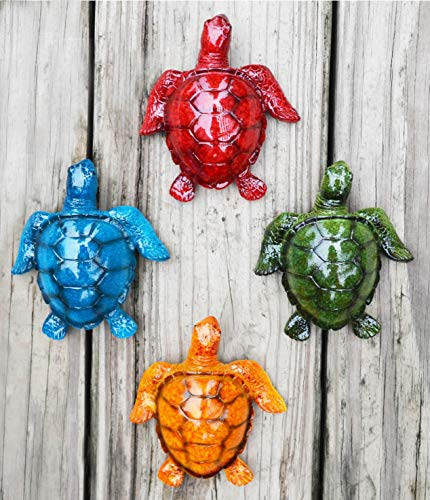 GIFTME 5 Cute Sea Turtles Wall Decor Set of 4 Indoor Outdoor Resin Wall Decor Prefect Addition to Pool,Deck,Backyard,Walkways or Entrances Garden Wall Sculptures