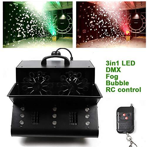 9 LEDs RGB DMX512 Nebelmaschine 3 in 1 Seifenblasenmaschine 3000W Stage Smoke Effekt für Hochzeit, Geburtstagsfeier und Kinder Party Funkfernbedienung