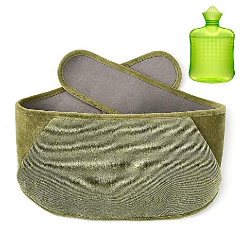 Samply Transparent Hot Water Bottle- 1 Liter Water Bag with Cute Fleece Cover, Green