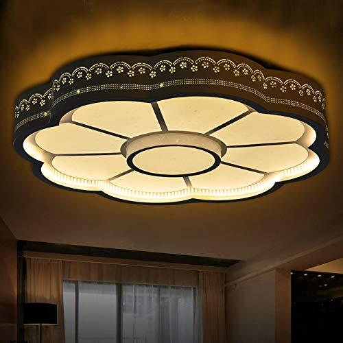 Led Lámpara De Techo Regulable Del Dormitorio,Plafón Led De Techo Con Mando A Distancia Salon,Circular Atmosférica Creativa Iluminación Moderna Tri-Tono Luz Negro 60Cm
