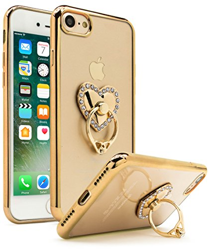 iPhone 7 Case, Bastex Ultra Thin Clear Luxury TPU Gold Bumper Case Cover with Attachable Heart Diamond Ring Holder for Apple iPhone 7