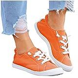 BIBOKAOKE Zapatillas planas de tela para mujer, zapatillas de lona bajas, zapatillas deportivas con cordones, transpirables, para el tiempo libre, zapatillas de deporte, cómodas, de lona, para caminar