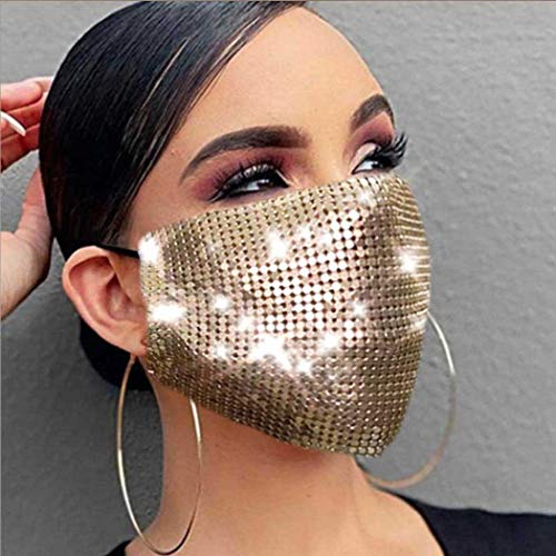 Evild Sparkly Mesh Sequins Mouth Cover Glitter Face Mask Masquerade Ball Party Mardi Gras Jewelry for Women and Girl(Gold)