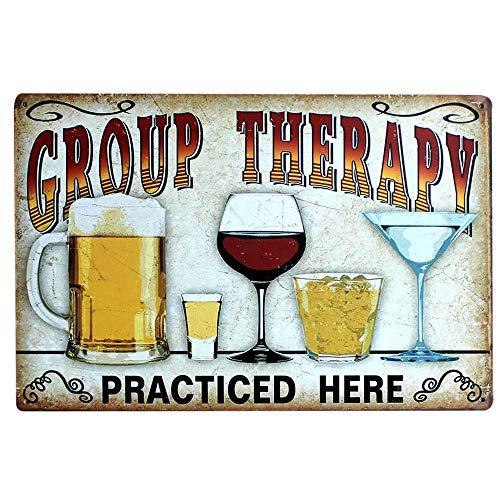 Gobesty Vintage Carteles, 20cm x 30cm Decoración de Pared de Cerveza Letrero de Metal de estaño Retro de Cerveza Letrero de estaño de Arte Group Therapy Practiced Here