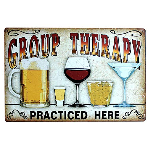 Gobesty Blechschild Retro, 20x30 cm Bier Nostalgie Schild Deko Metallschild Blechschilder Vintage Group Therapy Practiced Here für Cafe Bar Pub