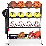 EXTCCT Basketball Rack, Rolling Sports Equipment Storage Cart, Four-Layer Organizer Stand for Basketballs Footballs Volleyball, Hand Push Ball Cart with Wheels for Garage Storage Garage Organizer