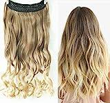 D&L Extensions capillaires à pinces Cheveux ondulés 2 tons Tête entière 1 trame...