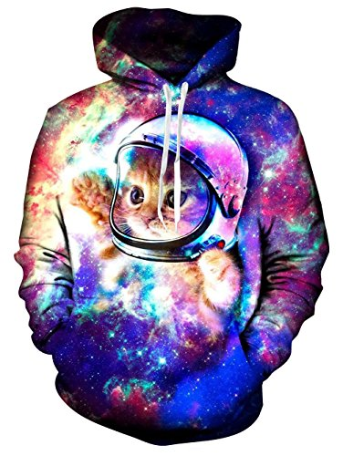 Men's Galaxy Space Astronaut Cat Printed Pullover Hoodie Hooded Sweatshirt,Astronaut Cat,Large,2017 Style Astronaut Cat,Large