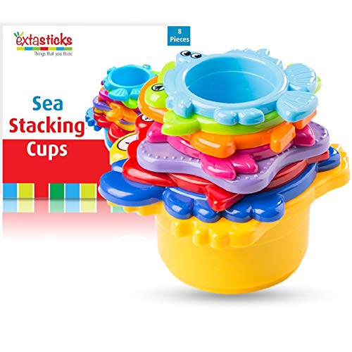 Extasticks Baby Bath Toys - Stacking Cups for Sand, Beach and Water for Toddlers and Kids - 8 Cup Set to Play in Pool and tub for Boys and Girls