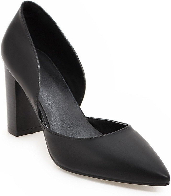 AIWEIYi Women Pumps Square High Heels Pointed Toe Platform Dress Sandals Black