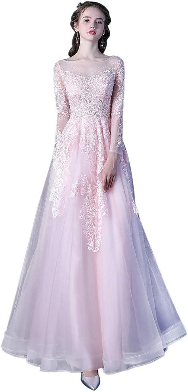 Drasawee Women's Long Sleeve Sweet Bridesmaid Dress Long Lace Evening Dresses