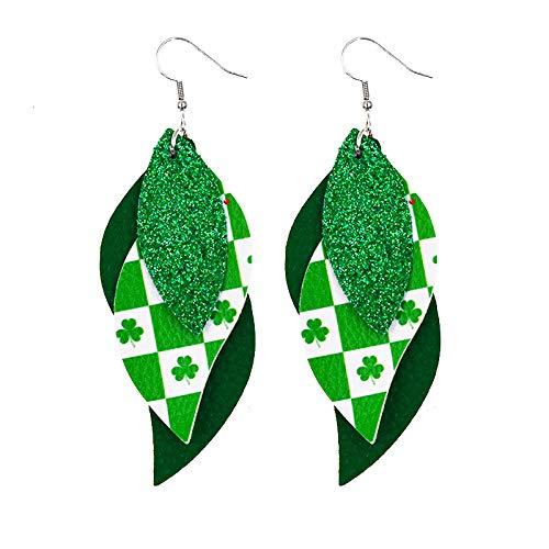 Seguire St Patricks Day Green Lucky Earring Green Drop Shape Printing Earrings Accessory Ear Studs, Shamrock, Leprechauns, Green Beer Irish Teardrop Earrings for Women Girls Jewelry