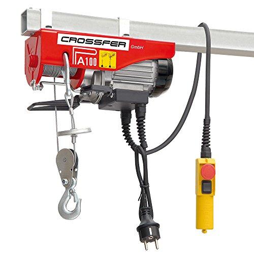 CROSSFER PA100D Elektrischer Seilhebezug 230Volt für 50kg/100kg Last Seilwinde mit Umlenkrolle als Flaschenzug Seilzug 8 Meter Hubhöhe Hebezug Lastkran Hebezeug