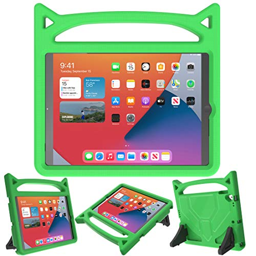 MOXOTEK Kids Case for New iPad 10.2 2020 (8th Gen) / 10.2 2019(7th Gen) / Air 3rd Generation(10.5') / Pro 10.5 inch,Durable Shockproof Protective Handle Stand Bumper Case for iPad 7/8/Air 3, Green
