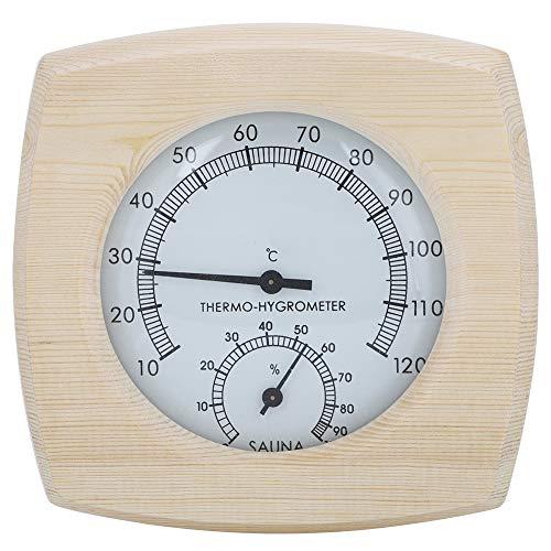 Longzhuo Sauna Thermo-Hygrometer, Holz Thermo-Hygrometer Thermometer Hygrometer für Badezimmer Sauna Raumzubehör Ca. 165 g