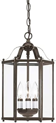 Seagull Sea Gull 5231EN-782 Transitional Three Light Semi-Flush Convertible Pendant from Bretton Collection Dark Finish, Heirloom Bronze