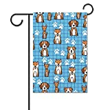 unknow Gartenflagge Baumwolle 31 x 46 cm Tier nahtlos Hund doppelseitig Premium Gartenflagge Sommer Strand Willkommen Deko Garten Fahne Mops Cartoon blau doppelseitig Premium Gartenflagge