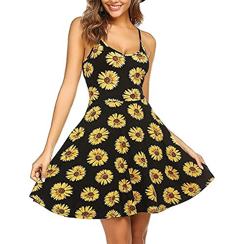 Vestido de verano para mujer, sin mangas, con estampado de flores, con correa para el hombro ajustable, vestido de playa, colorido, moderno, elegante, elegante, elegante, acampanado, naranja, M