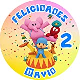 OBLEA de POCOYÓ Personalizada con Nombre y Edad para Pastel o Tarta, Especial para cumpleaños, Medida Redonda de 20cm de diámetro