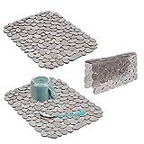 mDesign Accessori lavandino – Comodi scolapiatti da appoggio in plastica – Pratici tappetini scolapiatti e divisorio per lavandino – Set da 3 – Grigio
