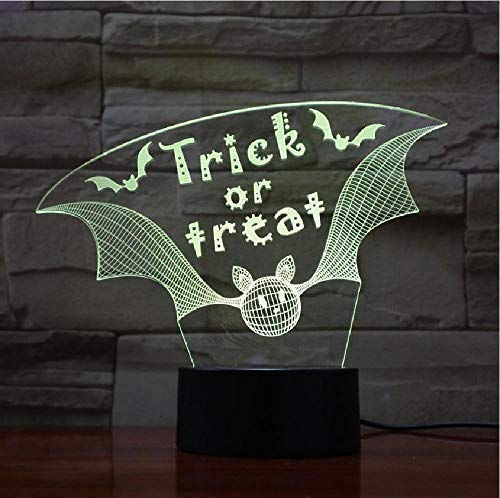 7 Colors Of 3D Night Light Can Change Acrylic Material, Trick Or Treat Night Light 3D Desk Table Illusion Decoration Lamp Holiday Birthday Halloween Gift
