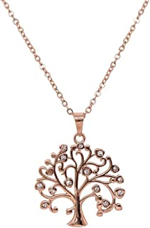 Bevilles Rose Stainless Steel Crystal Tree of Life Necklace