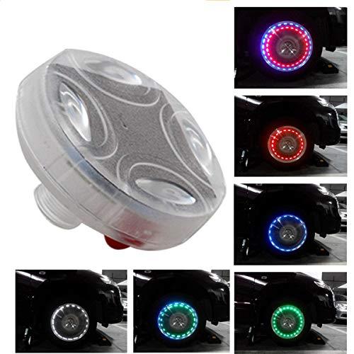 MASO Capuchon de valve de pneu étanche avec lampe LED solaire colorée à 4 modes pour voiture et moto