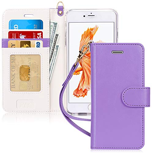 FYY Luxury PU Leather Wallet Case for iPhone 6 Plus/6s Plus, [Kickstand Feature] Flip Phone Case Protective Cover with [Card Holder] [Wrist Strap] for Apple iPhone 6 Plus/6s Plus 5.5' Lavender