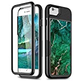 iPhone SE 2020 Case/iPhone 8 Case/iPhone 7 Case with Built-in Screen Protector, WeLoveCase 3 in 1 Slim Hybrid Soft TPU Bumper Marble Cover Case for iPhone 7/8/SE 2020, Green Marble