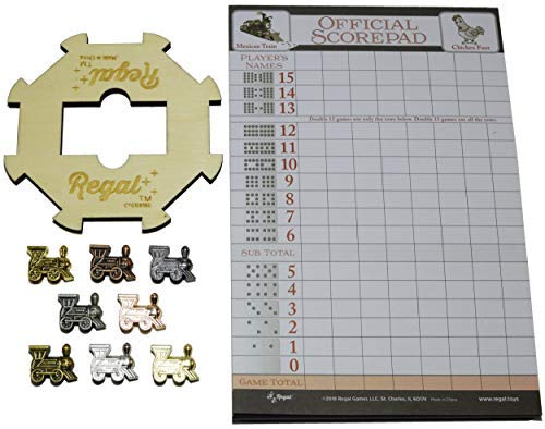 Regal Games Mexican Train Domino Expansion Set - 8 Metal Marker Trains with Unique Finishes - Replacement Wooden Hub - Scoresheet