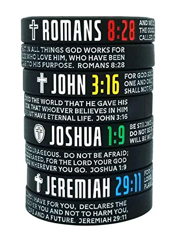 8-Pack Christian Bible Verses Silicone Bracelets | Religious Gifts Rubber Wristbands for Men, Women, Teenagers | Strength Faith Belief Hope | Positive and Inspirational Messages
