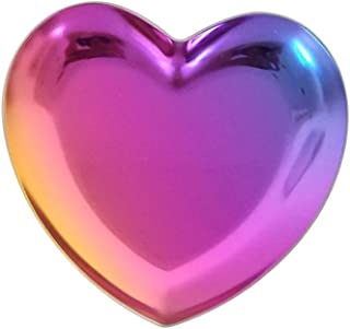 OUNONA Jewelry Trinket Dish Heart Shaped Jewelry Dish Tray Ring Necklace Accessories (Colorful)