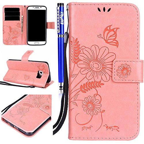 FESELE Kompatibel mit Galaxy S6 Edge Lederhülle Leder Hülle, Schmetterling Blumen Muster Ledertasche Leder Handyhülle Flip Case Brieftasche Handy Schutzhülle Klapphülle Kartenfach,Rosa