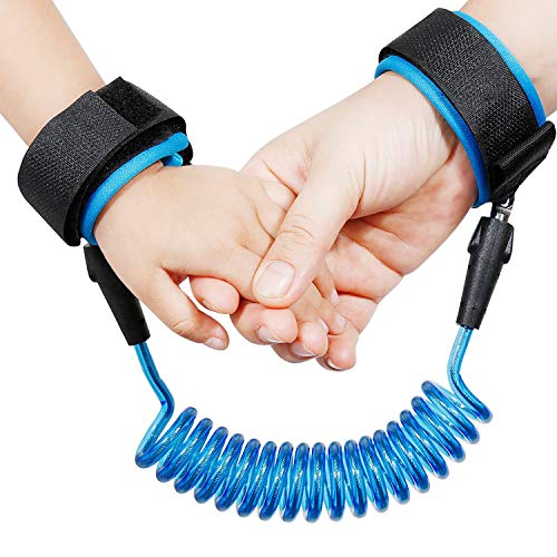 Anti-Verloren Handgelenk Gürtel Kinder Sicherheit Handschlaufe 360° Drehung Elastisches Drahtseil Atmungsaktiv Baumwolle Armgelenk Band für Reise Outdoor Spazieren Maximale Länge 1.5M (Blau)