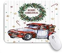 ZOMOY マウスパッド 個性的 おしゃれ 柔軟 かわいい ゴム製裏面 ゲーミングマウスパッド PC ノートパソコン オフィス用 デスクマット 滑り止め 耐久性が良い おもしろいパターン (車でのメリークリスマス新年祭クリスマスサンタとアドベントリース内のメリークリスマス)