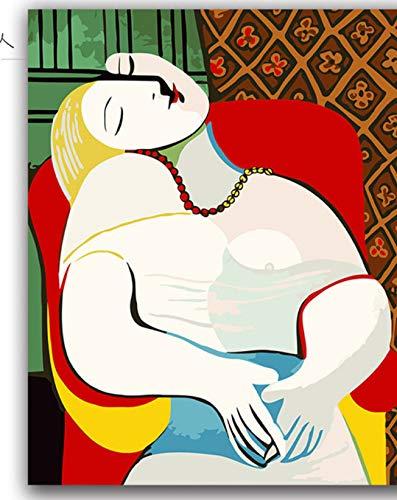 DIRART Frameless Diy Digitale Schilderen Kleurplaten Door Getallen Zittende Vrouw In De Tuin Picasso'S Schilderijen Abstracte Figuur Foto's Kleuren Verf Door Getallen 40X50Cm