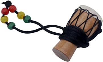 Walmeck Handmade Dejembe African Drum Necklace Percussion Instrument Accessories Wood Color with Black Wire