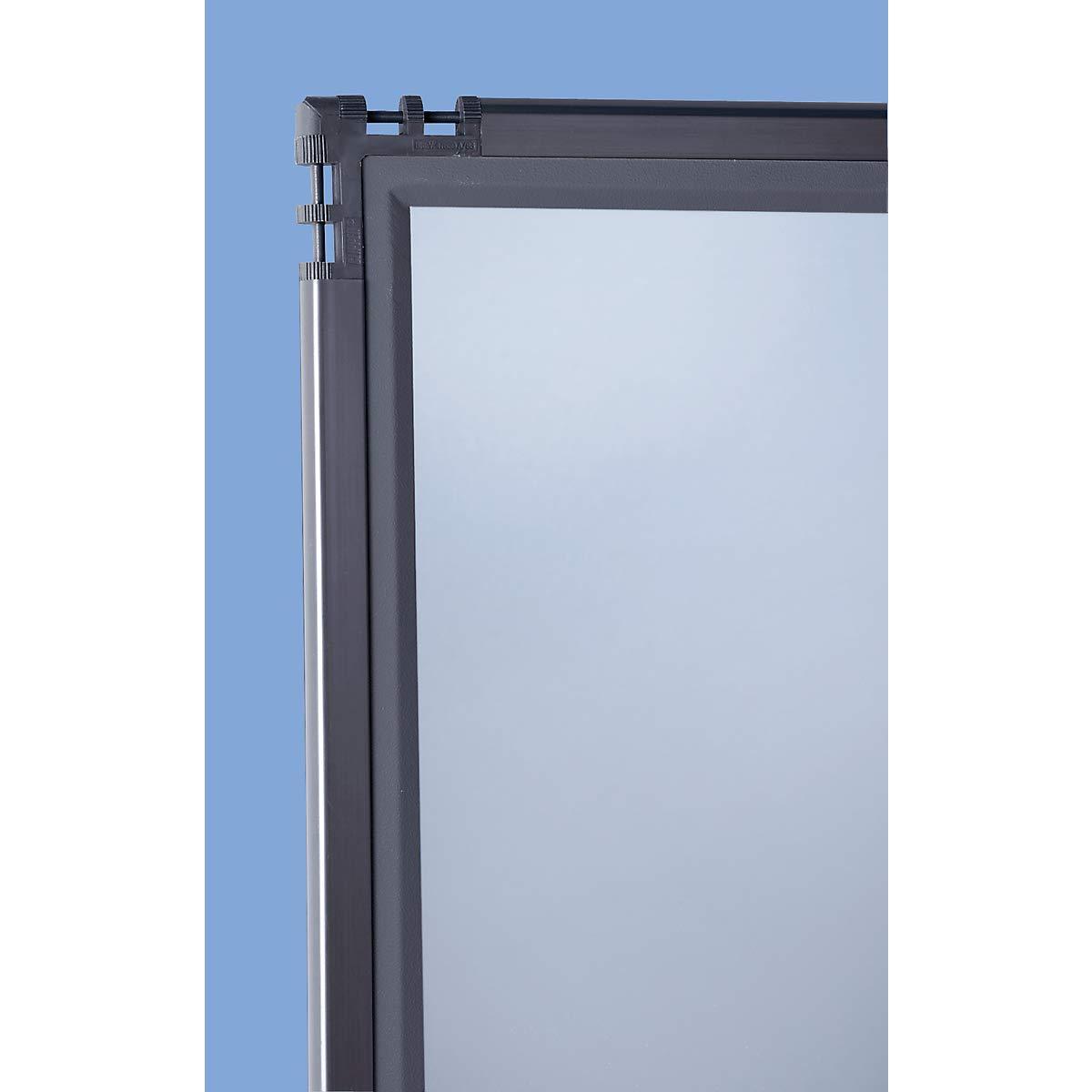 Dividir – Cristal acrílico ahumado – H x L 1950 x 650 mm, marco gris pizarra – Dispositivo de delimitación mampara de separación paredes de separación separación de separación Dividir Dividir Industrial