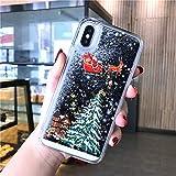 LUOKAOO Funda de teléfono Liquid Quicksand Christmas para iPhone XR X XS MAX 6 6S 7 7Plus 8 8Plus Bling Funda rígida Transparente para PC, T1, para iPhone 6 6s Plus