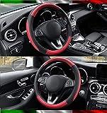 Coprivolante Per Auto Universale In Microfibra Sportivo, Resistente, Elastico, Antiscivolo E Comodo Per La Guida Nuovo Nero E Rosso Misura 37-38 Centimetri Volante (nero/rosso)
