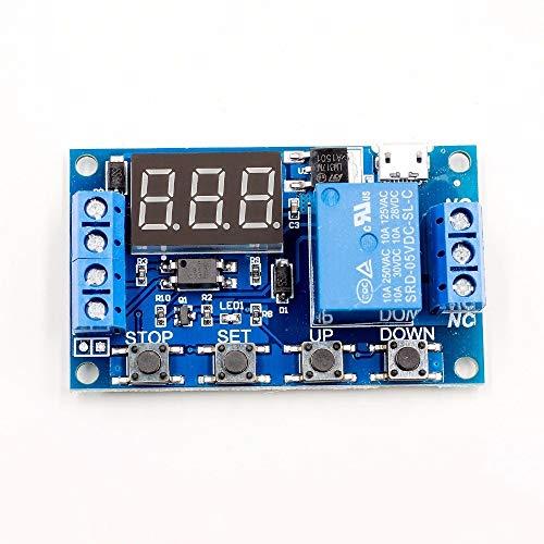 ZZQQ Módulo de relevo Módulo de conmutador de relé 6-30V Tiempo de activación del Circuito de retardo del Temporizador de Ciclo Ajustable para el Voltaje de Control