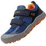 Zapatos Senderismo Velcro Niños Antideslizante Zapatillas Trekking Niño Bambas de Montaña para Niña Azul 34 EU
