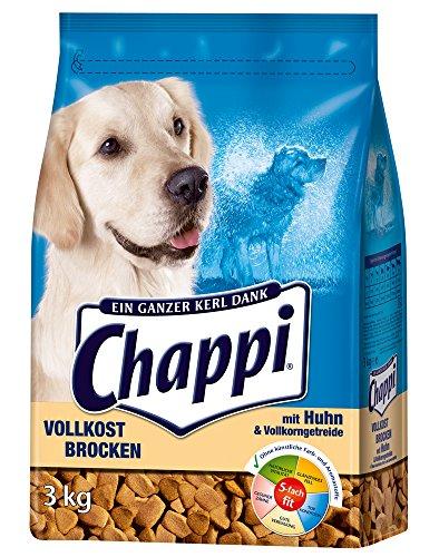 Chappi Hundefutter Vollkost Brocken mit Huhn und Vollkorngetreide, 3 Packungen (3 x 3 kg)