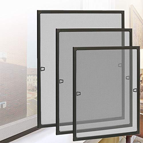 HENGMEI Fliegengitter Fenster Insektenschutz Insektenschutzrahmen Spannrahmen mückengitter gitter mit Aluminium Rahmen ohne Bohren für Fenster (100x120cm, Fenster-Braun)