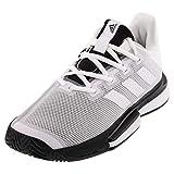 adidas Men's SoleMatch Bounce Tennis Shoe, White/White/Black, 7 M US