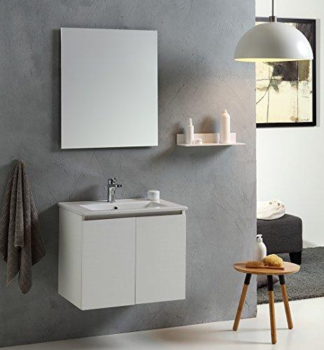 mobiletto bagno specchio MOBILE BAGNO VINCI 60 CM CON DUE ANTE MODELLO BIANCO FORESTA