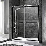 WOODBRIDGE Frameless Shower Door, 56'-60' Width, 76' Height, 3/8' (10 mm) Clear Tempered Glass with Shatter Retention Safety Design,2 Ways Opening & Double Sliding, Matte Black, SDD6076-MBL