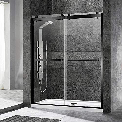 "WOODBRIDGE Frameless Shower Door, 56""-60"" Width, 76"" Height, 3/8"" (10 mm) Clear Tempered Glass with Shatter Retention Safety Design,2 Ways Opening & Double Sliding, Matte Black, SDD6076-MBL"