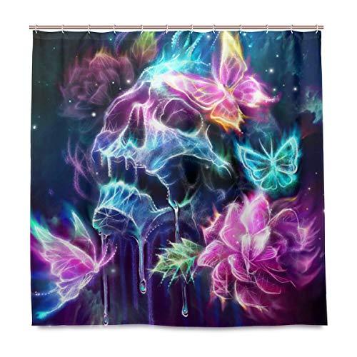 Mr.Lucien Totenkopf Schmetterling Duschvorhang für Badezimmer Gothic Stoff Vorhang Badezimmer Dekor Set mit Haken 182,9 x 182,9 cm 2020819