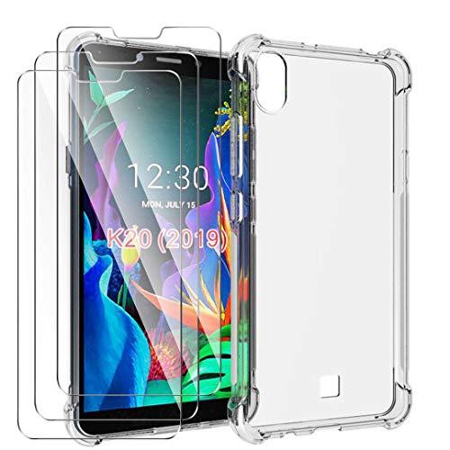 HYMY Hülle für LG K20 2019 Smartphone + 3 x Schutzfolie Panzerglas -Transparent Erdbebenresistenz Schutzhülle TPU Handytasche Tasche Verstärkung an Vier Ecken Case für LG K20 2019 (5.45